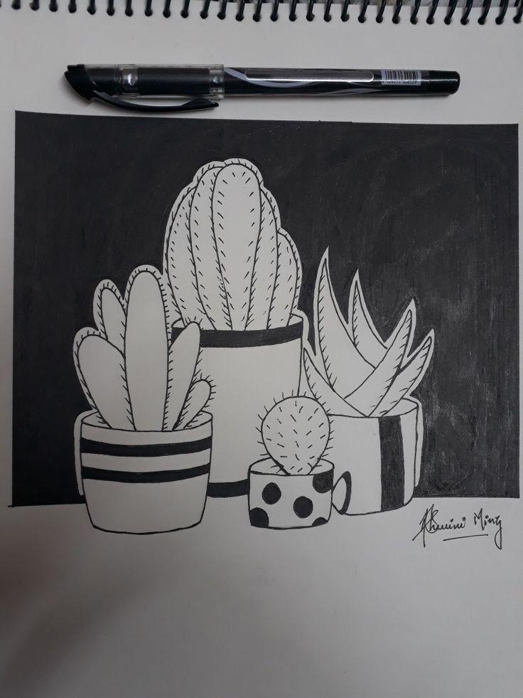 easy gel pen drawings drawing very simple cactus pens draw merely using