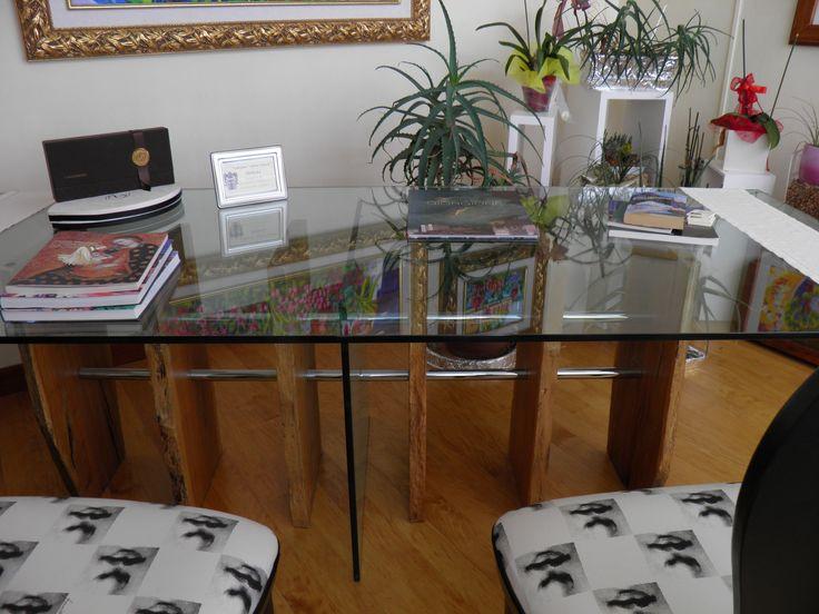 "a modern ""bricola"" and glass modern table"