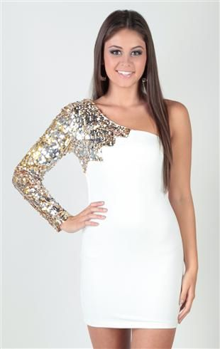 Deb Shops two tone sequin, one shoulder flame, body con #homecoming #dress $44.90