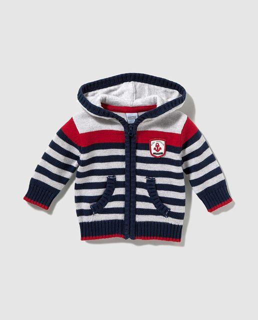 Chaqueta de bebé niño Freestyle de rayas con capucha