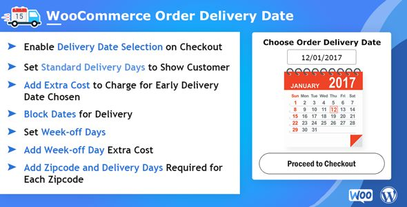 WooCommerce Order Delivery Date Plugin helps you to choose the Delivery Date and Delivery time during the checkout process or notifies them about estimated delivery dates for #Woocommerce. Key Features: - Enable Delivery Date Selection on Checkouts - Set Delivery Date field mandatory - Set Standard Delivery days - Allow scheduling delivery before expected delivery date - Enable zip code based delivery date settings Live Demo Link: http://woocommerceorderdeliverydate.demo.store.multidots.com/
