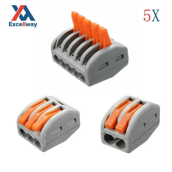 Description 5Pcs 2 3 5 Pins Reusable Spring Lever Terminal Block Electric Cable Wire Connector Specifications Brand ExcellwayR Model ET25 Material