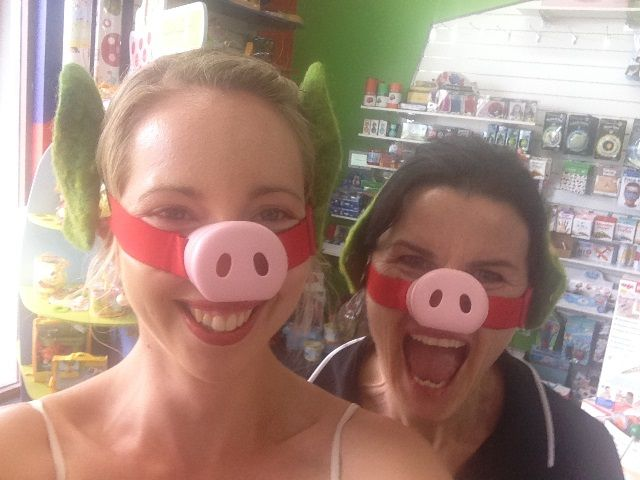 Oink oink! Two little piggies hamming it up with Haba's pig noses #haba #dressups