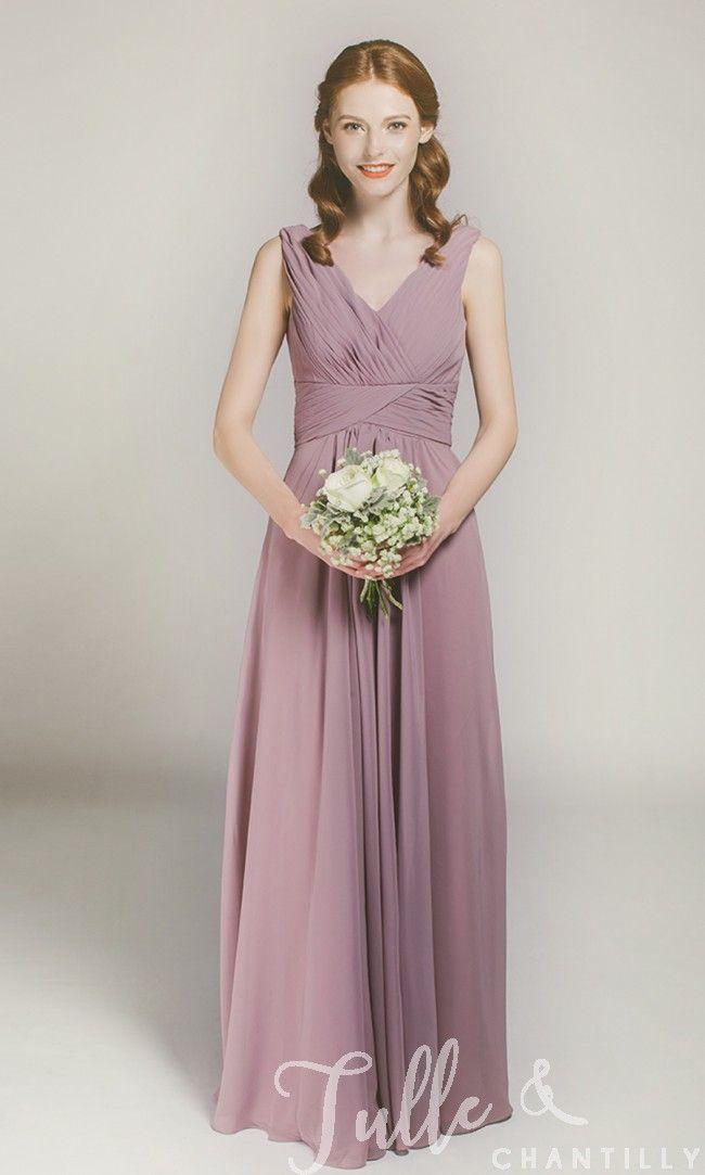 Long Mauve V-neck Chiffon Bridesmaid Gown TBQP198 click for 40+ colors