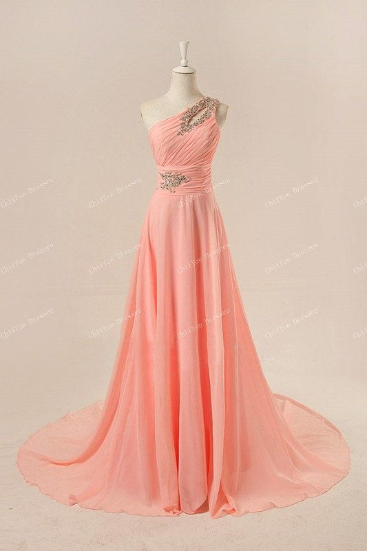 Long One Shoulder Bridesmaid Dress Long Chiffon Dresses Prom Dress Evening Dress Plus Size Dress Formal Dress Custom Made Dresses on Etsy, $110.00