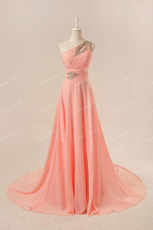 Long one shoulder bridesmaid dress long chiffon dresses for Plus size one shoulder wedding dress