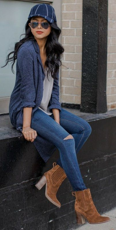 #winter #fashion /  Navy Cardigan + Camel Booties