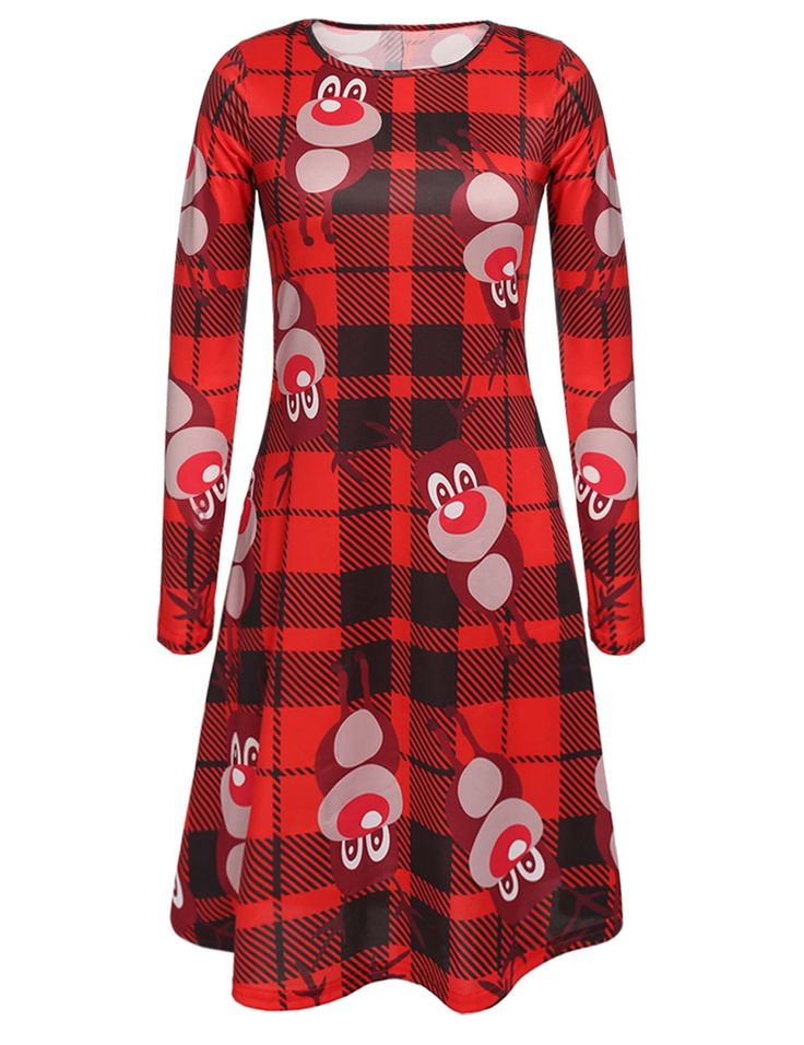 Ladies Women Cute Round Neck Long Sleeve Christmas Print Dress