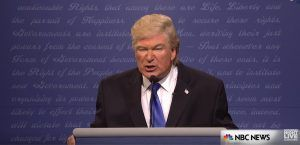 NBC is the network that made Trump a reality TV star and SNL did not disappoint in its portrayal of him in this crazy election cycle. Frequent host Alec Baldwin does a hilarious impression of him a year after the genuine Trump hosted the show himself