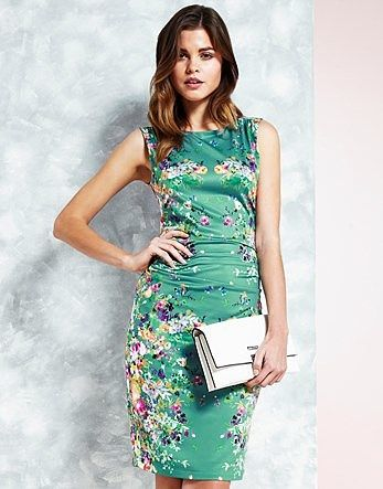 Womens sea green uttam boutique cascading floral mirrored jersey dress from Lipsy - £55 at ClothingByColour.com