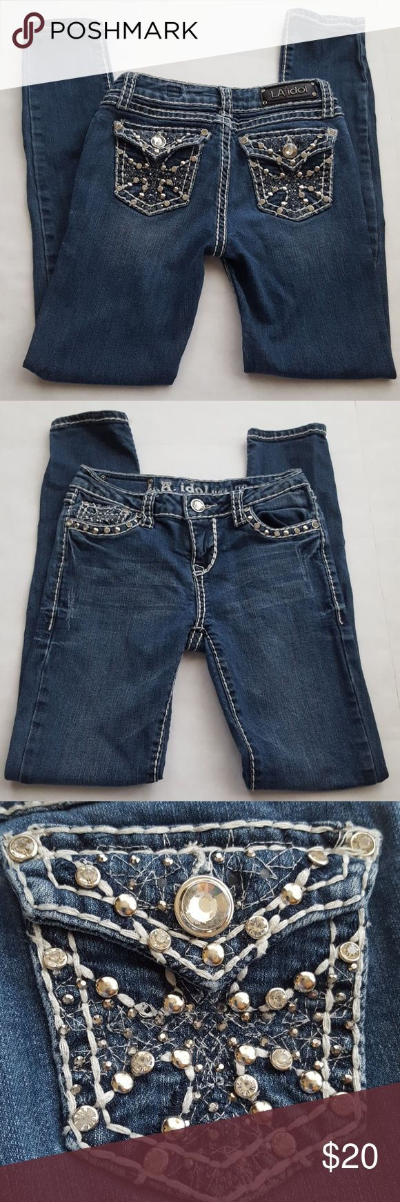 LA Idol Fancy Pockets Bling Blue Jeans LA Idol Jeans are super cute. Lots of bling on the pockets to separate yourself from the crowd. White stitching gives them extra pop. Excellent Used Condition L.A. Idol Bottoms Jeans
