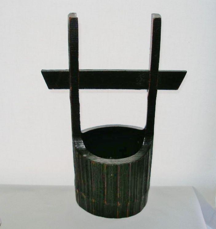 Phenomenal LARGE Hand Crafted JAPANESE Bamboo IKEBANA BASKET VASE Fine RICH WOOD