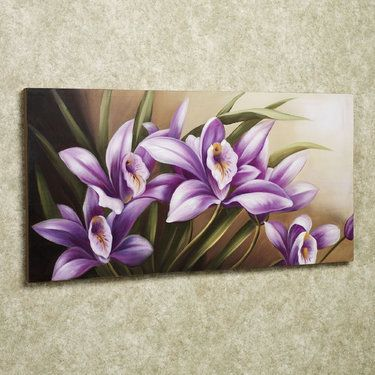 Wild Orchid Handpainted Floral Canvas Wall Art