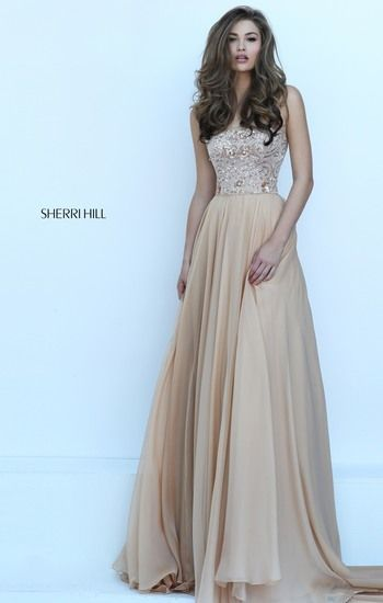 A Line Sherri Hill 50305 Gold Chiffon Prom Dress Beaded