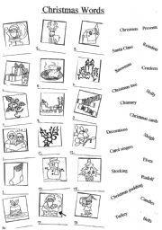Английский: Worksheets Рождественские слова