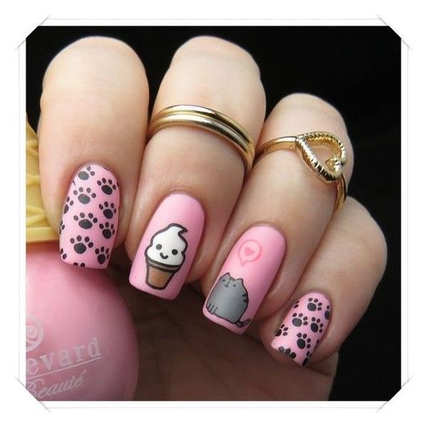 Pusheen Nails ❤ liked on Polyvore featuring beauty products, nail care and nail treatments