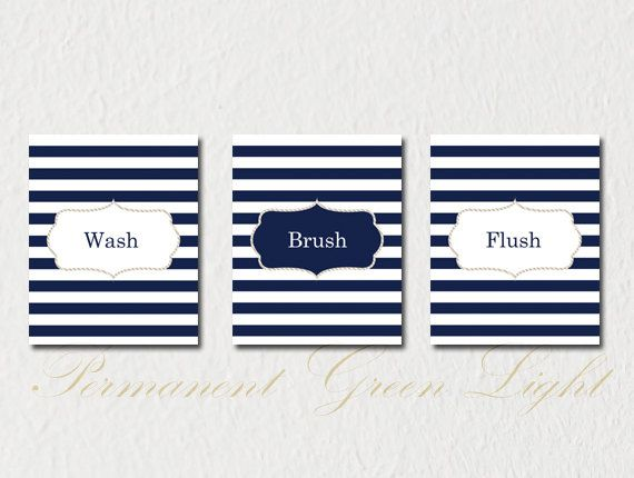 Nautical Bathroom, Nautical Decor, Nautical Bathroom Decor , Wash Brush  Flush, Set Of Part 80