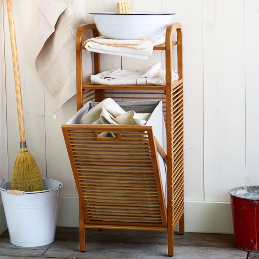 bamboo shelving + laundry hamper // for the bath