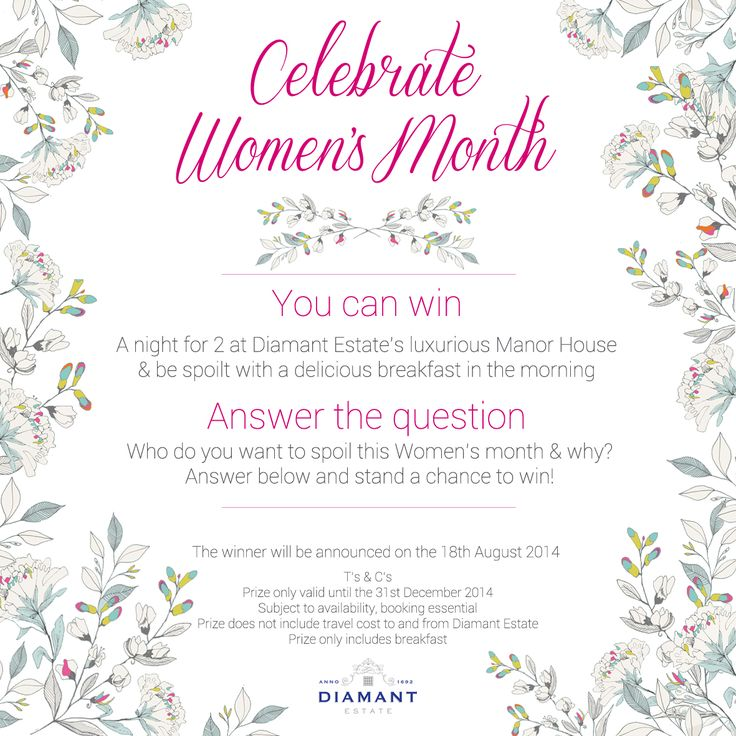 Celebrate this Women's Month by entering this Competition! Simply answer the question and stand a chance to WIN! For more information visit the #DiamantEstate Facebook Page: https://www.facebook.com/DiamantEstate/photos/a.300471446704384.72290.300432036708325/729041033847421/?type=1&theater Who do you want to spoil this Women's Month and why? You stand a chance of winning a night for 2 at the luxurious Manor House & be spoilt with a delicious breakfast in the morning! T's & C's apply.