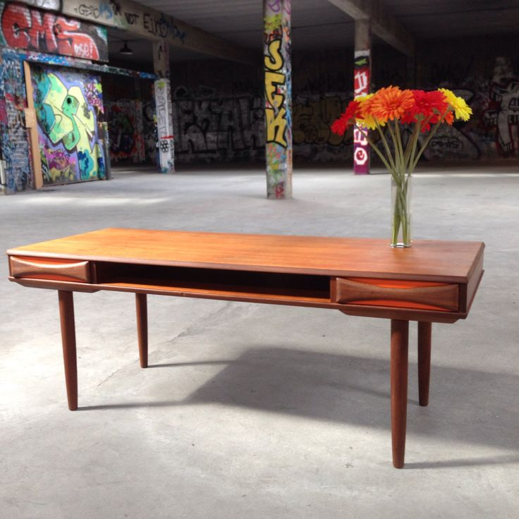 Restored Mid Century Danish Modern Teak Coffee Table Painted To Enhance The Glow Of The Wood