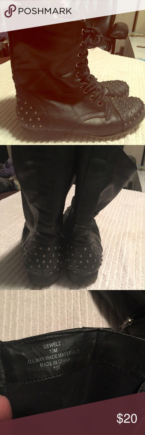 """Gewels"" Studded Combat Boot Black studded combat boot - have been worn but in good condition. Shoes Combat & Moto Boots"