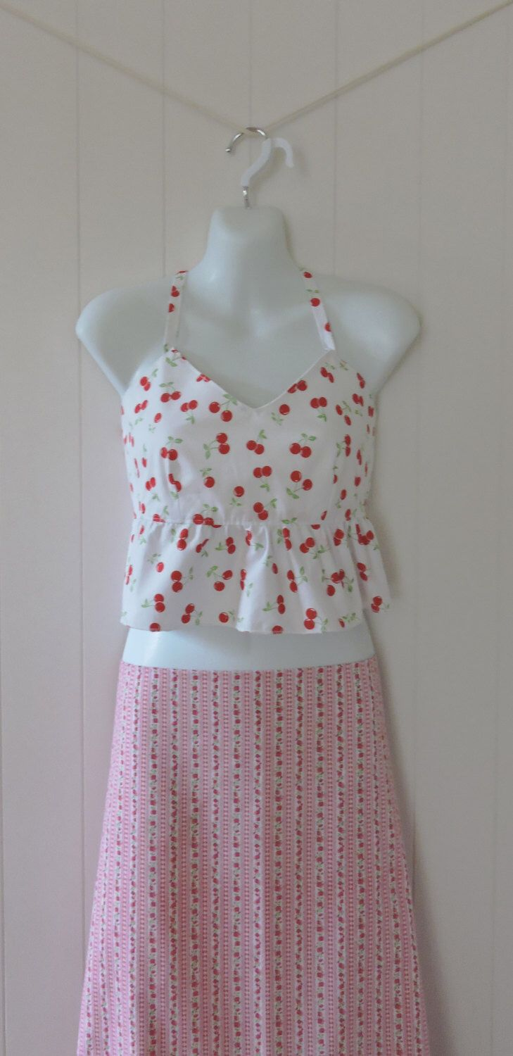 Women's Top, Girls Top, Small, Halter, Polycotton, Quilters cotton, Tie Back, Cherry pattern, Red & White, Handmade, Australian made by dezignhub on Etsy https://www.etsy.com/au/listing/255323495/womens-top-girls-top-small-halter