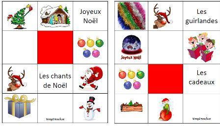Leçon de francais pour enfants débutants  Bingo + flashcards de Noel (facile + plus élaboré) Songs/chansons