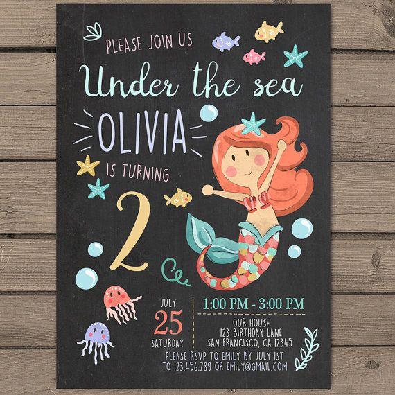 Mermaid Birthday party invitation under the by Anietillustration