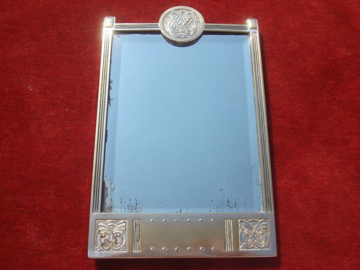 GERMAN ART NOUVEAU WMF SILVER PLATED TOILET MIRROR BEVELLED GLASS WOODEN BACKING #German #WMF #SilverPlated #Brass #Mirror #ToiletMirror