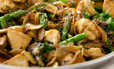 Recipe for Dukan Diet Chicken with Mushrooms and Asparagus.