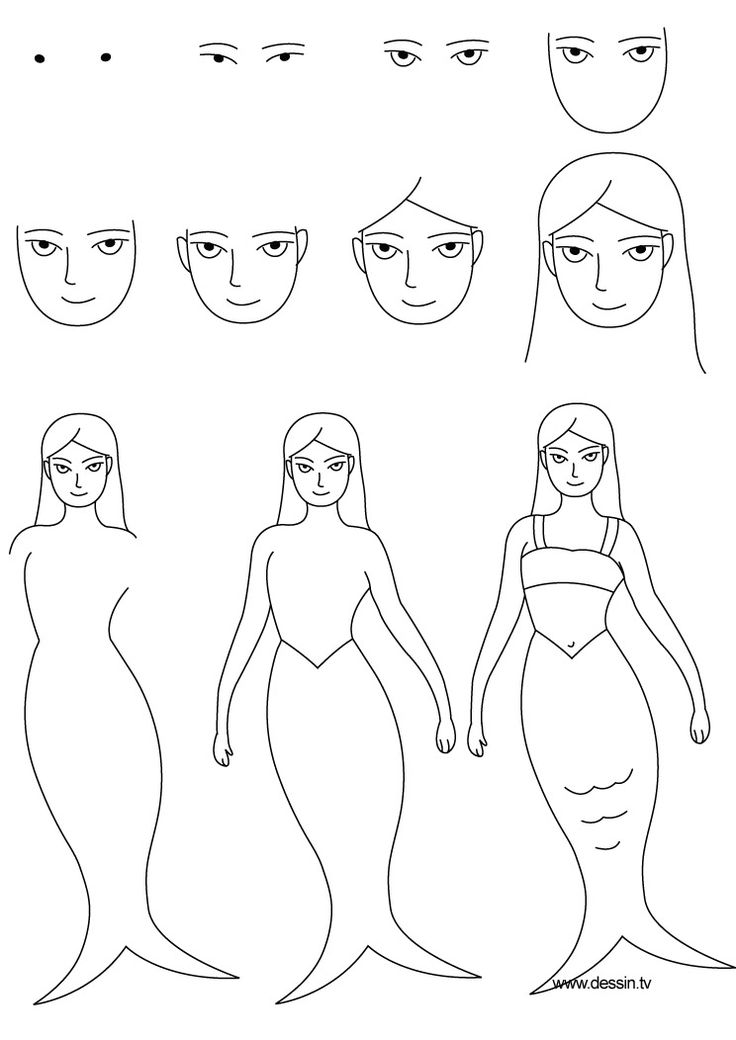 How To Draw A Mermaid Step By Step | learn how to draw a mermaid with simple step by step instructions