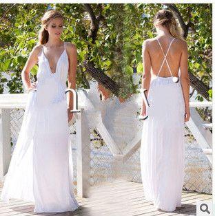 Deep V-neck Straps Split Backless Long Dress