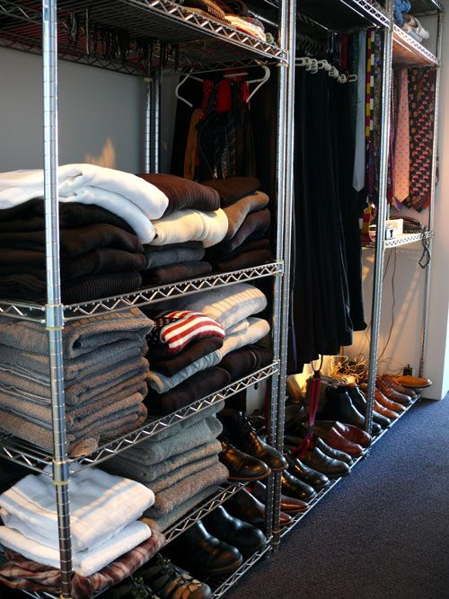 Metro shelving is great for organizing closets. Find it here: http://www.houzz.com/photos/7917573/lid=1599323/Metro-Shelving-Unit-36x14x74-Chrome-industrial-garage-storage
