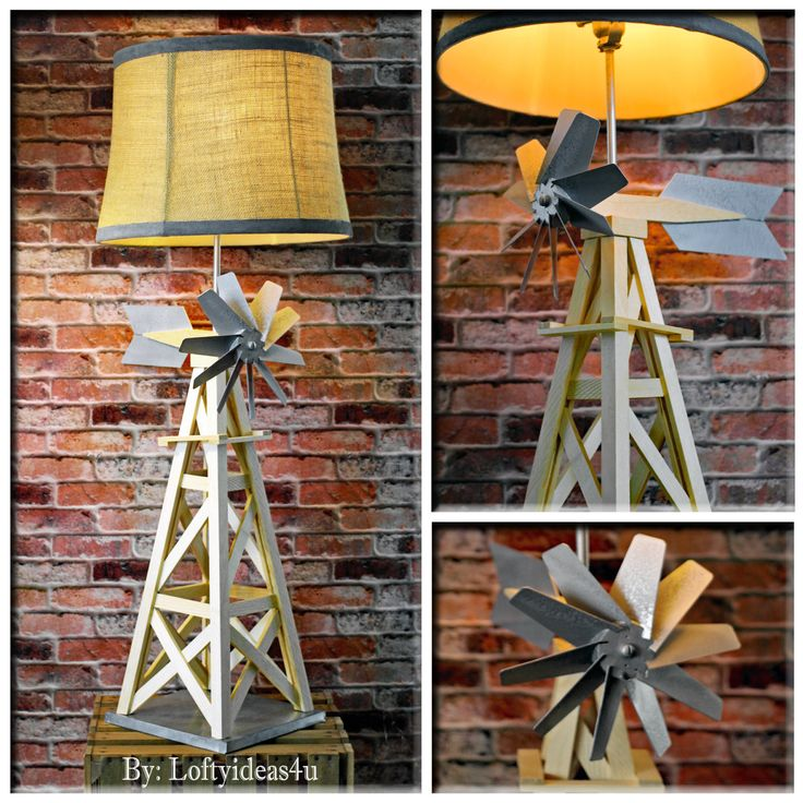 """Upcycled Urban Farmhouse Natural Pine Wooden WINDMILL 36"""" TALL Table Lamp with a…"""