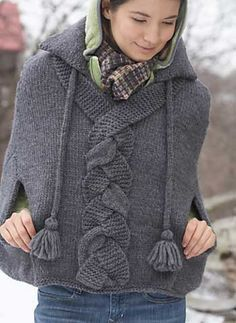 this is beautiful Ilike the detial of the different textures on the plat . Patons | Braid Detail Cape free pattern on Ravelry