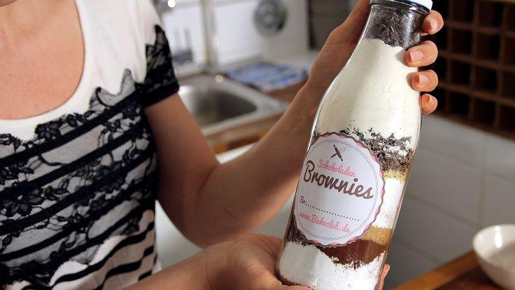 Brownie-Backmischung im Glas Rezept als Back-Video zum selber machen! Ganz einfach Schritt für Schritt erklärt!