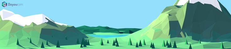 """""""Moutains & Lake"""" for Doyoucom, by Bastien Delmare / bastiendelmare.com"""