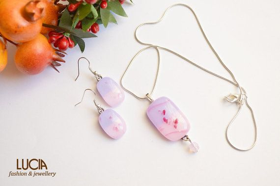 Fused glass necklace and earrings Light purple and pink glass