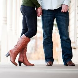 Cowboy boots, woodsy scenes, and railroad tracks. Purely gorgeous engagement.