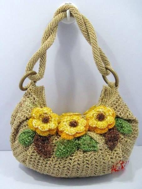 Вязаные сумки с цветочным мотивом.Идеи.
