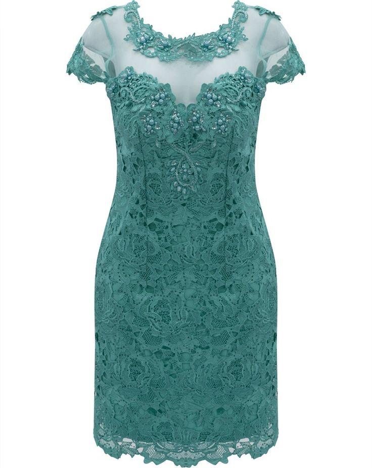 Vestido em Renda com Tule bordado e Pedrarias Seiki 980354 -Verde                                                                                                                                                                                 Mais