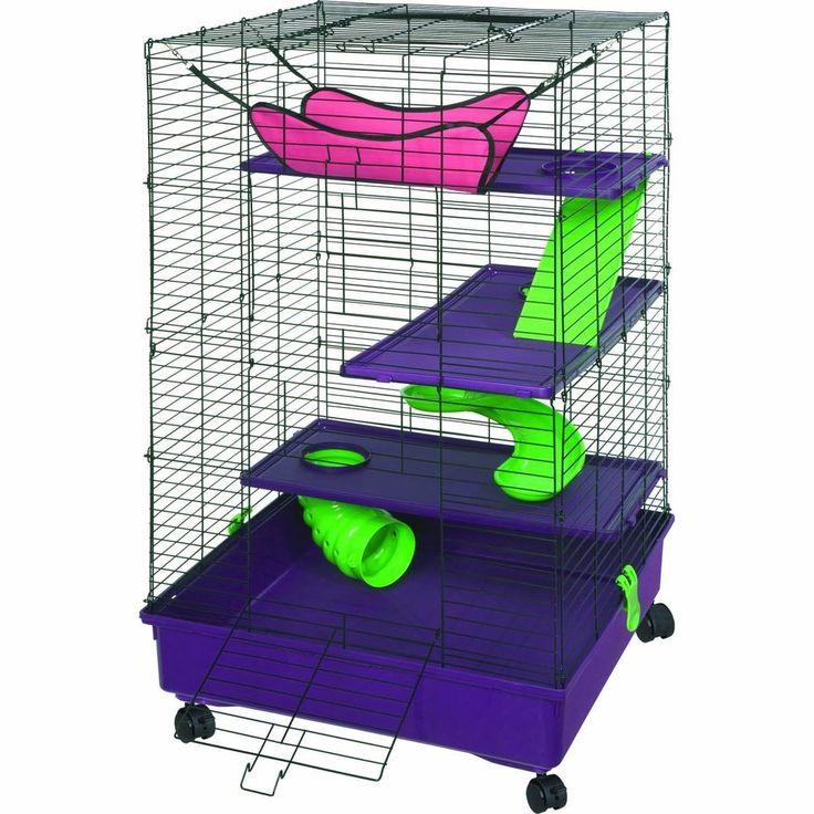 Pet Home Ferret Cage Chinchilla Guinea Caster Ramp Spiral Slide Hammock Shelves #Kaytee