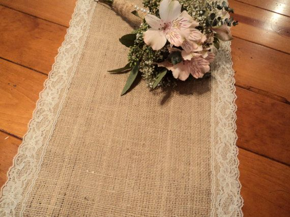 12 Wide Burlap Table Runner with Lace Rustic by theruffleddaisy