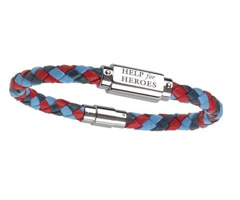 Help for Heroes - Tri-Colour Leather ID Bar Bracelet