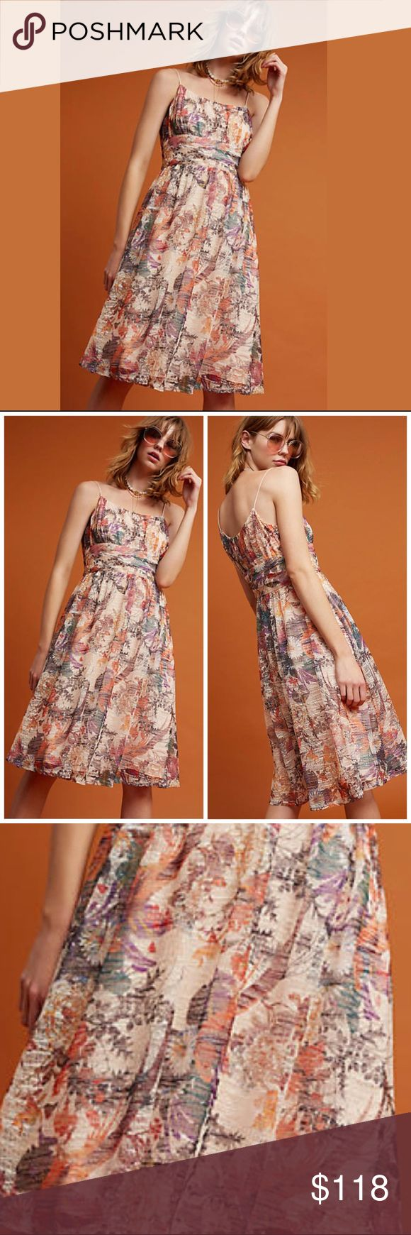 Anthropologie Maeve Floral Mesh Mackenzie Dress NWT When summer events call for garden-side seating, this floral dress effortlessly harmonizes with the scenery. By Maeve Fit-and-flare silhouette Side zip Polyester; Viscose lining Hand wash Imported Anthropologie Dresses Midi