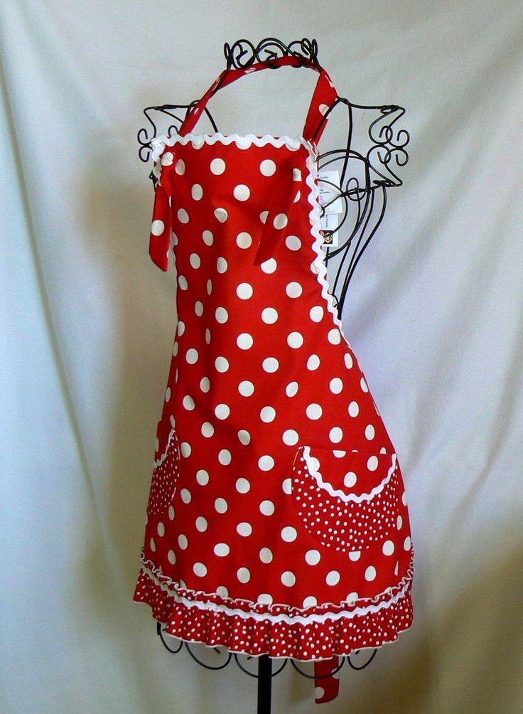 Plus Size, Womens Full Apron, Red and White, Polka Dots, Ruffles, Retro.