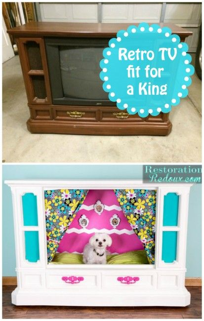 Retro Console TV Becomes Dog Bed! This is hilarious. I have no idea where you would put something like this but it is truly creative.