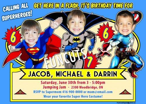 Various Superheroes Invitation, Kids Superhero Birthday Invitation