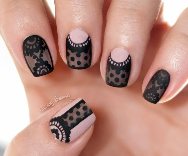Black lace nail art. Transparent tint, dotting tool, brushes and matte topcoat. In french but understandable when translated by google.