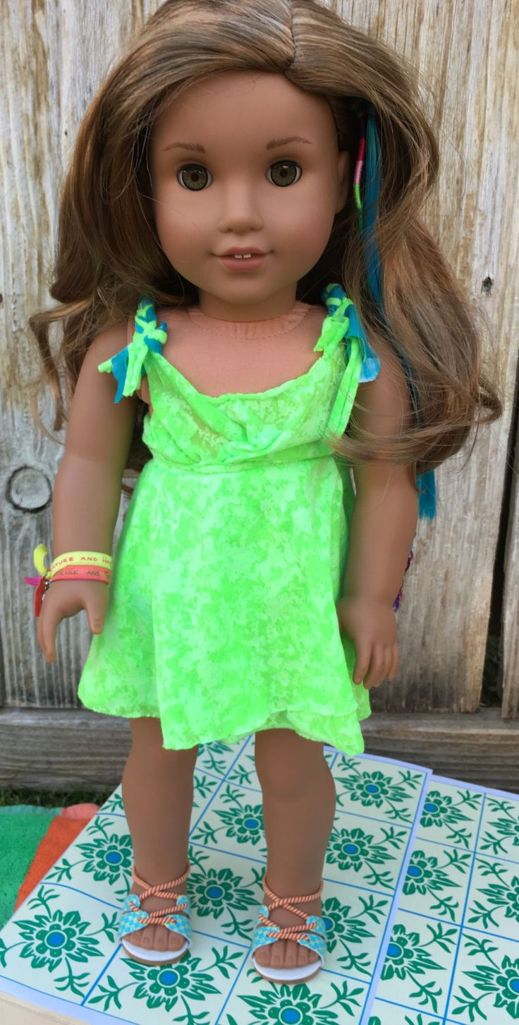Lea Clark Inspired Neon Green Dress Fits 18inch American Girl Dolls by MermaidsAndDolls on Etsy